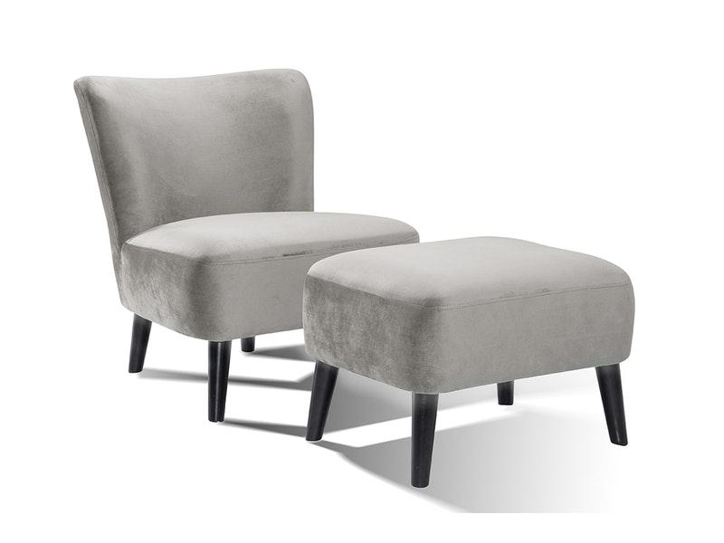 SalesFever® Sessel inkl. Hocker grau Wohnzimmer-Set Retro Samt Calypso