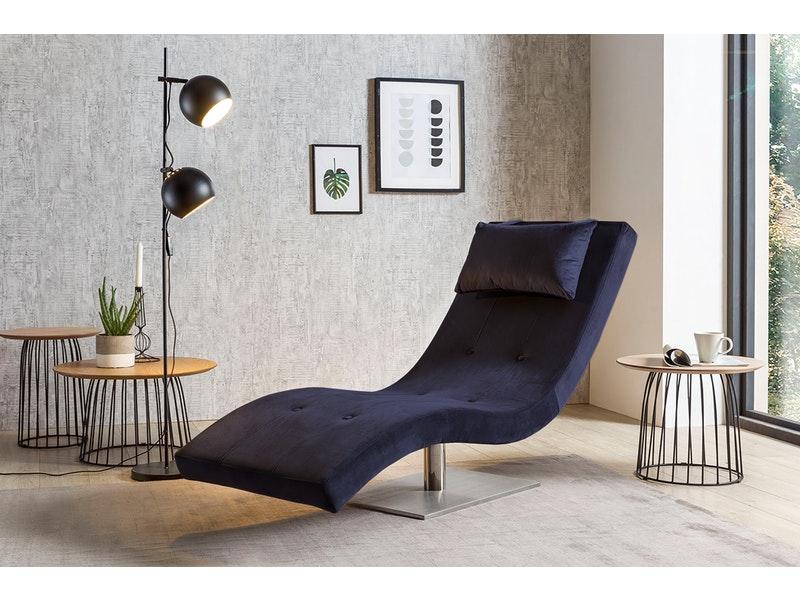 SalesFever® Liege Polsterliege Relaxliege 200 cm Samt blau TIARA