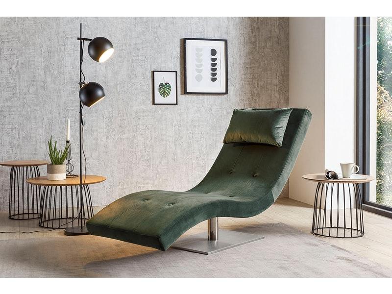 SalesFever® Liege Polsterliege Relaxliege 200 cm Samt grün TIARA