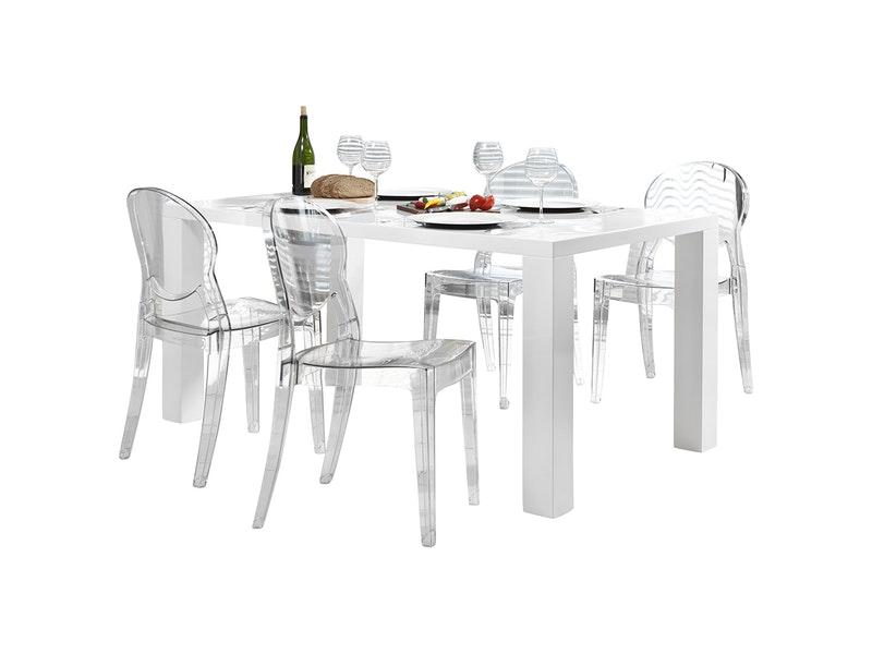 SalesFever® Essgruppe Igloo transparent Luke 140x90cm 4 Design Stühle