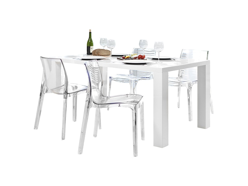 SalesFever® Essgruppe Sari transparent Luke 140x90cm 4 Design Stühle
