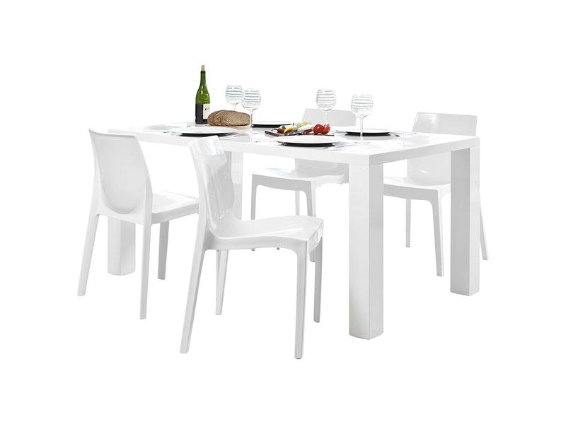 SalesFever® Essgruppe Sari weiß matt Luke 140x90cm 4 Design Stühle