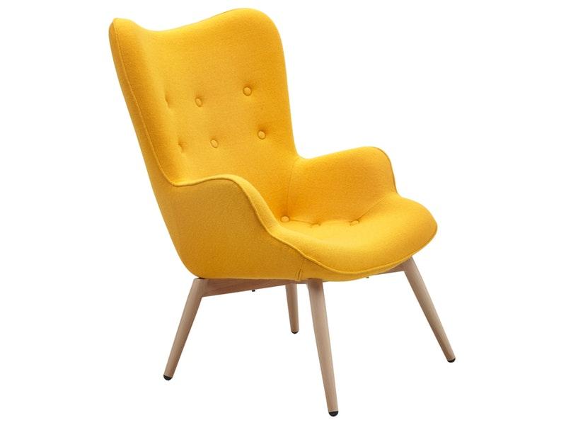 SalesFever® Relaxsessel gelb Webstoff mit Armlehnen ergonomische Form ANJO