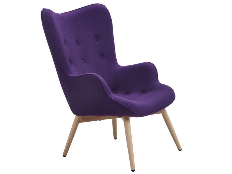 SalesFever® Relaxsessel lila Webstoff mit Armlehnen ergonomische Form ANJO
