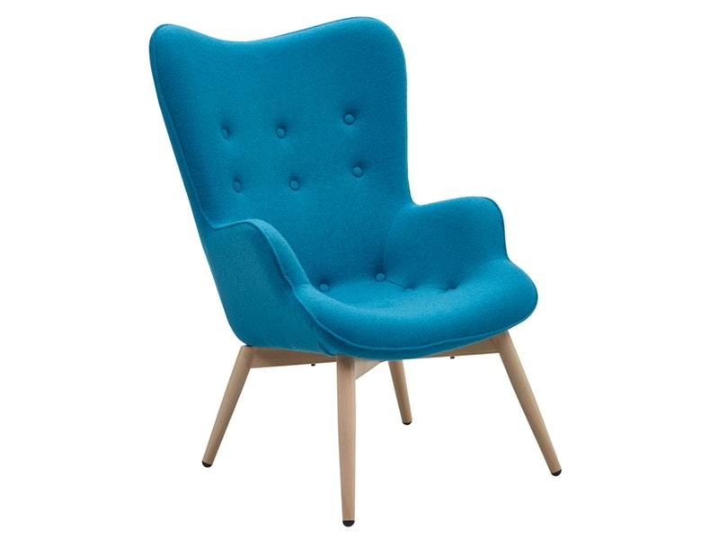 SalesFever® Relaxsessel blau Webstoff mit Armlehnen ergonomische Form ANJO
