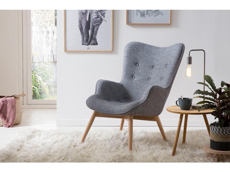 SalesFever® Relaxsessel grau Webstoff mit Armlehnen ergonomische Form ANJO