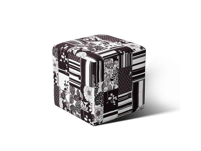 SIT Möbel Würfelhocker Patchwork Schwarz Weiß