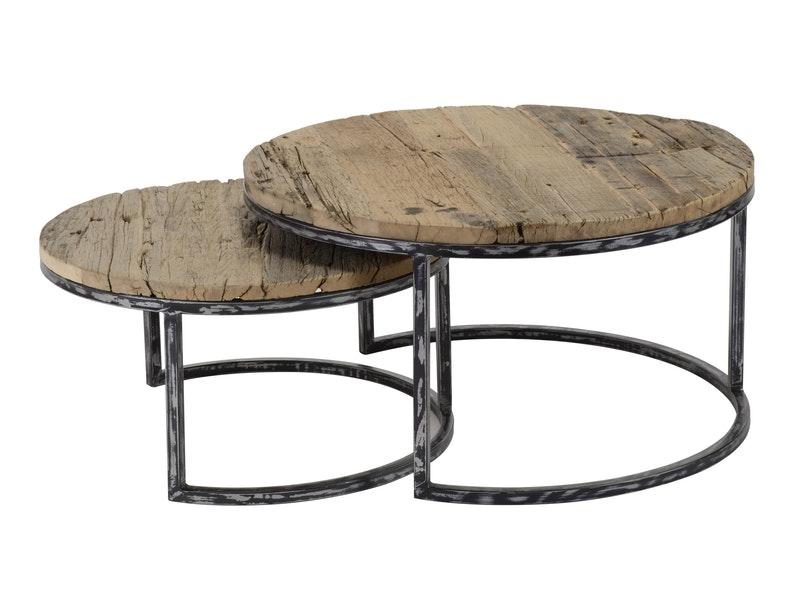 SalesFever® Couchtisch 2er Set mit halbrundem Rahmen Bruno