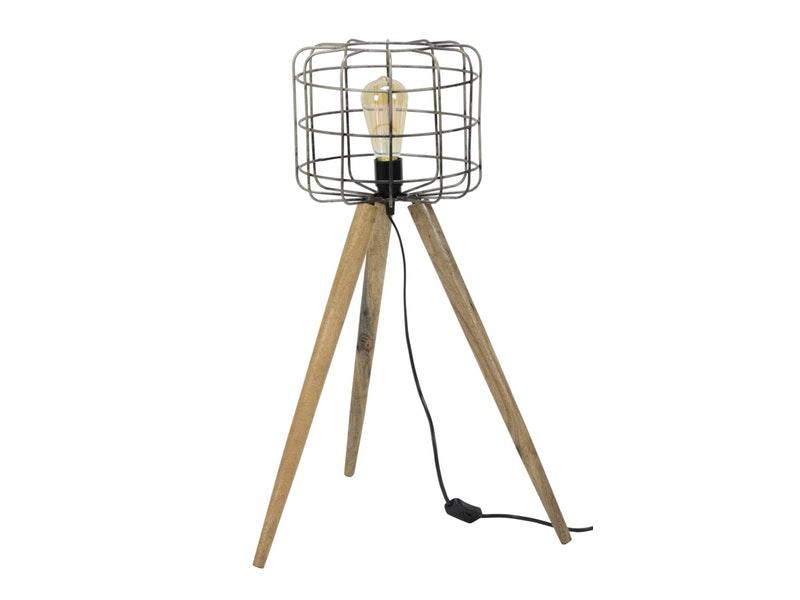 SalesFever® Stehlampe mit 1 Leuchte Korb dreibeiniges Holzstativ Tim-Luca