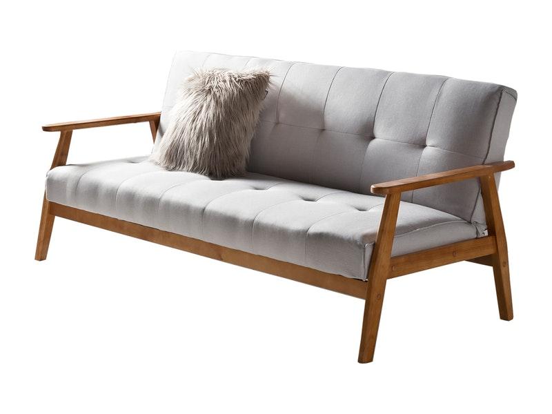 SalesFever® Design Schlafsofa grau ausklappbar skandinavische Möbel DUNDAL