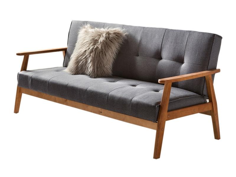 SalesFever® Design Schlafsofa dunkelgrau ausklappbar skandinavische Möbel DUNDAL
