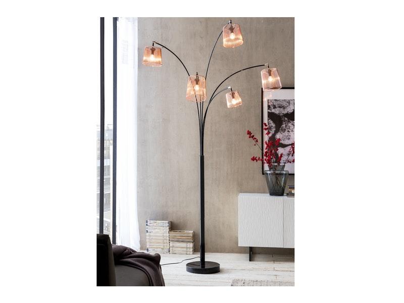 SalesFever® Stehlampe Stehleuchte Bogenlampe schwarz FIVE FINGERS
