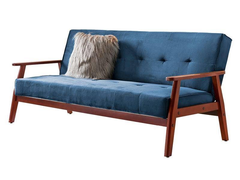 SalesFever® Design Schlafsofa SAMT blau ausklappbar skandinavische Möbel DUNDAL
