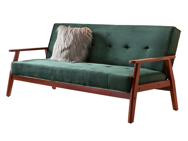 SalesFever® Design Schlafsofa SAMT grün ausklappbar skandinavische Möbel DUNDAL