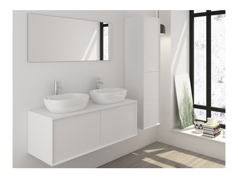 SalesFever® Badezimmer Set 3tlg. weiß matt 120 cm CORVO