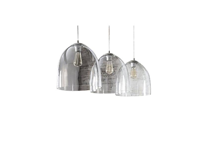 msp furniture Hängeleuchte Mick 3 Lampenschirme 33 cm Glas