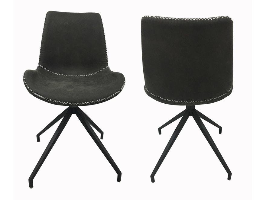 SalesFever Esszimmerstuhl Grau Stoff Drehbar Sessel Ohne Armlehnen Metall  Lilou 2er Set 13657   1