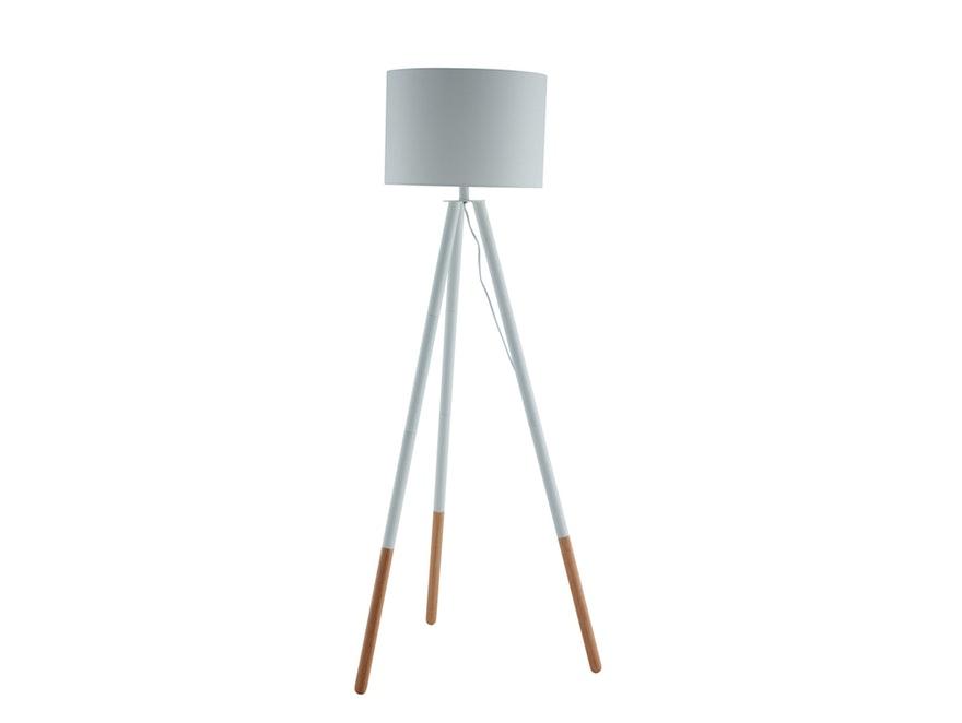 SalesFever Stilvolle Weiß / Eiche Stehlampe Tripod 13591   1