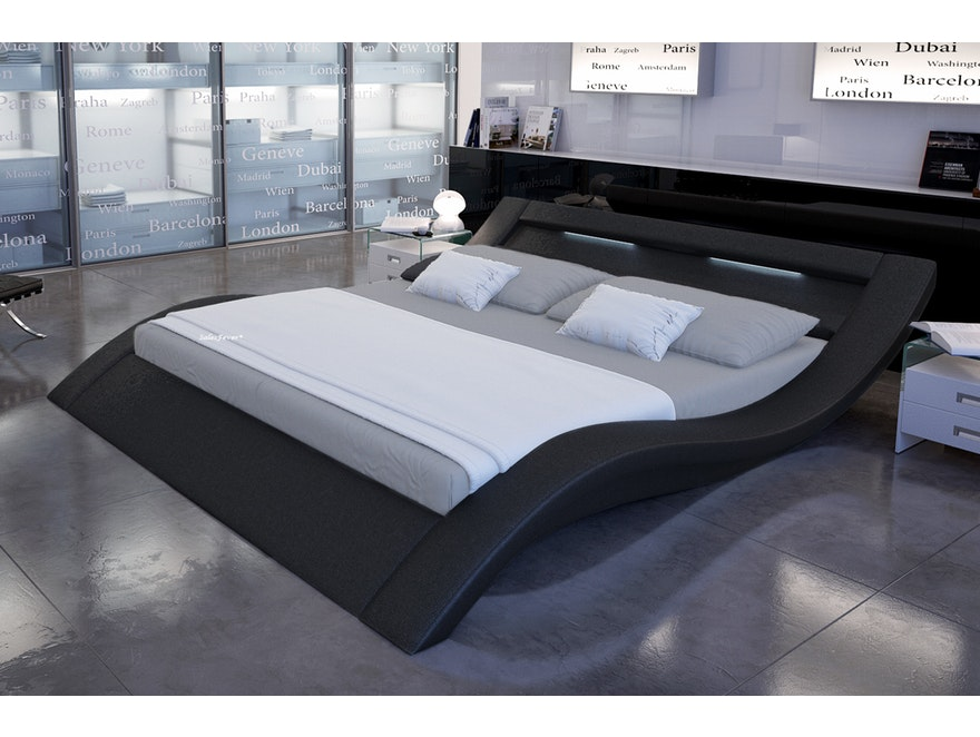 Innocent® Polsterbett 180x200 cm schwarz Doppelbett LED LOOK 7658 - 1