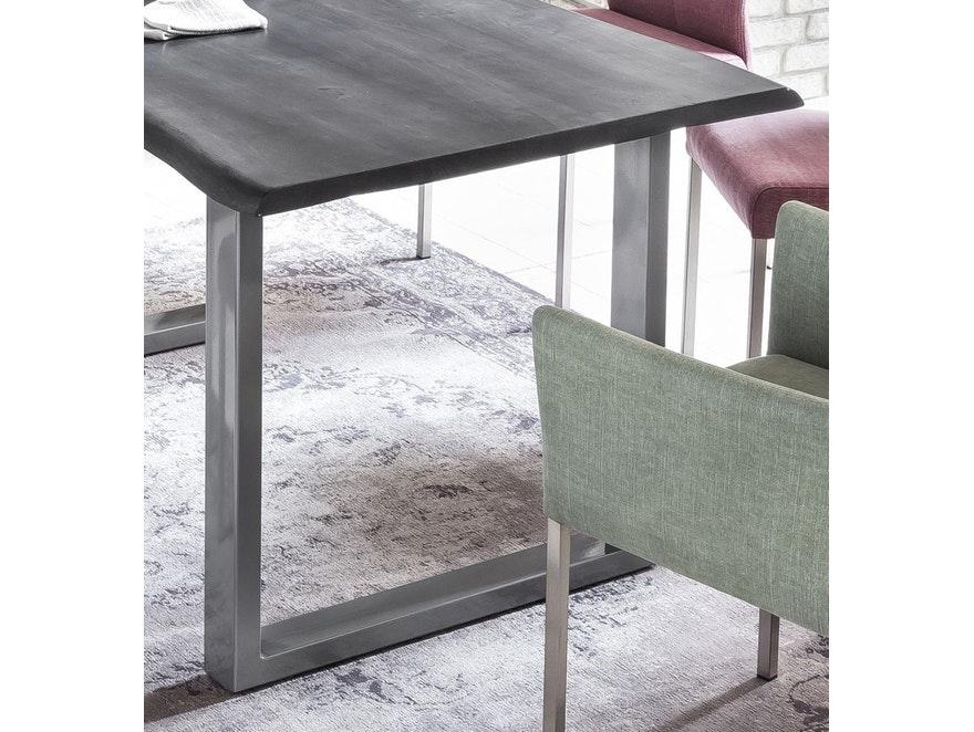 Esstisch 200x100 cm Baumkante Massiv Akazie Grau Silber EVA