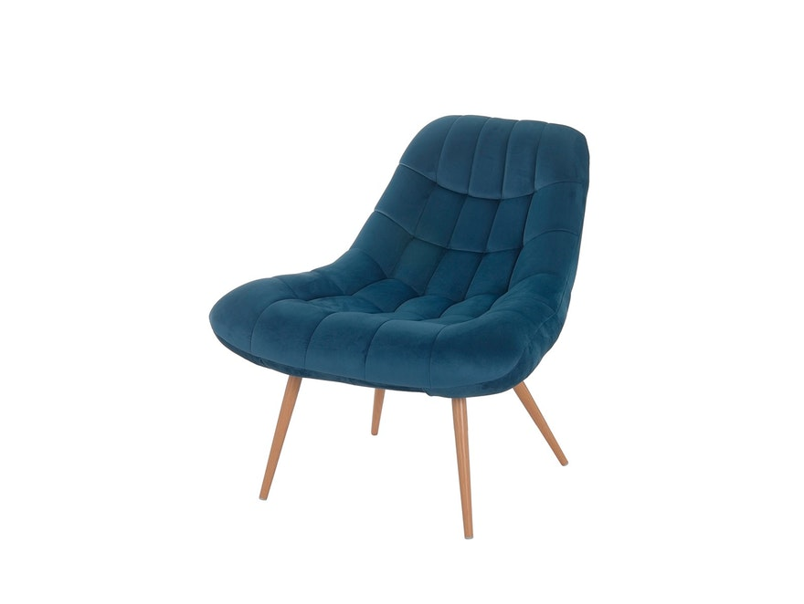 SalesFever® Loungesessel blau XXL-Sitzfläche Steppung Samt Metall Holz-Optik CHICAGO 390597 - 2