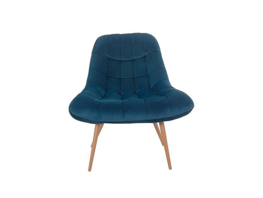 SalesFever® Loungesessel blau XXL-Sitzfläche Steppung Samt Metall Holz-Optik CHICAGO 390597 - 3