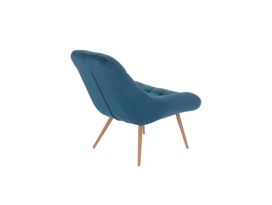 SalesFever® Loungesessel blau XXL-Sitzfläche Steppung Samt Metall Holz-Optik CHICAGO 390597 - 5