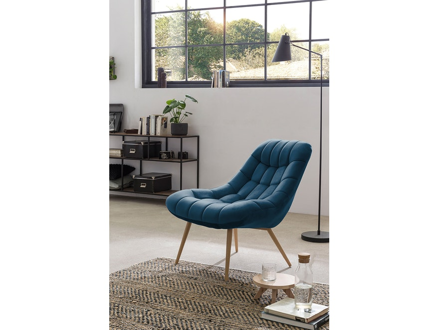 SalesFever® Loungesessel blau XXL-Sitzfläche Steppung Samt Metall Holz-Optik CHICAGO 390597 - 1