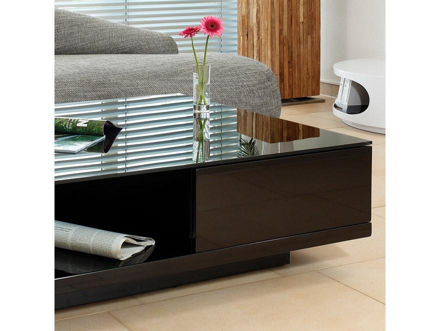 couchtisch clara mit schublade schwarz 100x100 cm synoun. Black Bedroom Furniture Sets. Home Design Ideas