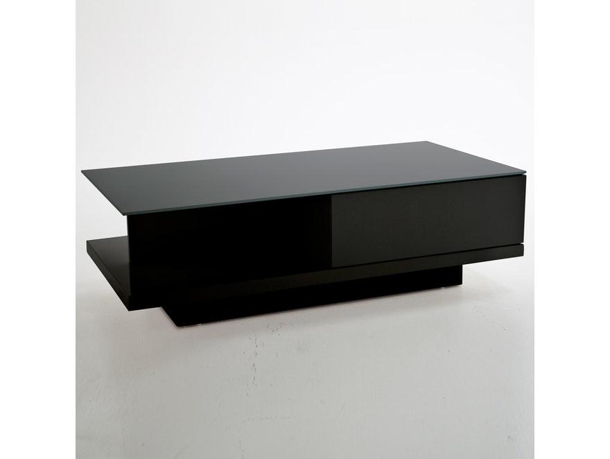 Couchtisch clara mit schublade schwarz 120x60 cm synoun for Couchtisch holz glas schublade
