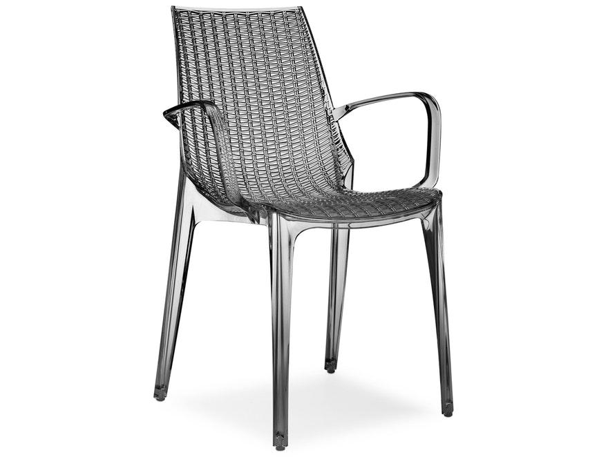 Designer stuhl tricot mit armlehnen anthrazit transparent for Stuhl transparent design