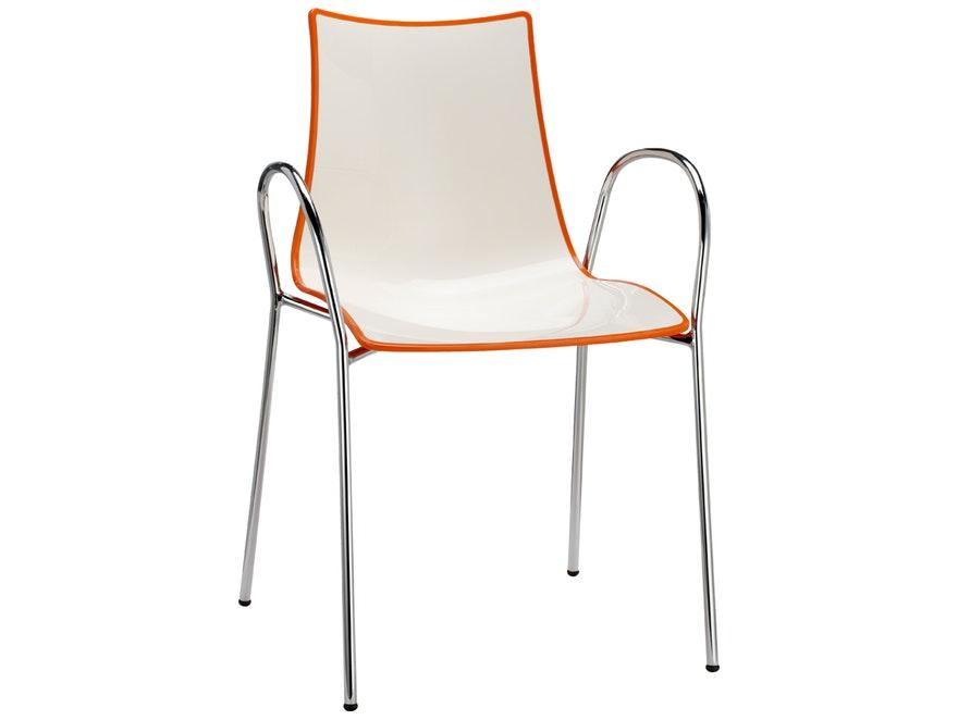 designer stuhl zebra bicolore arm wei orange scab. Black Bedroom Furniture Sets. Home Design Ideas