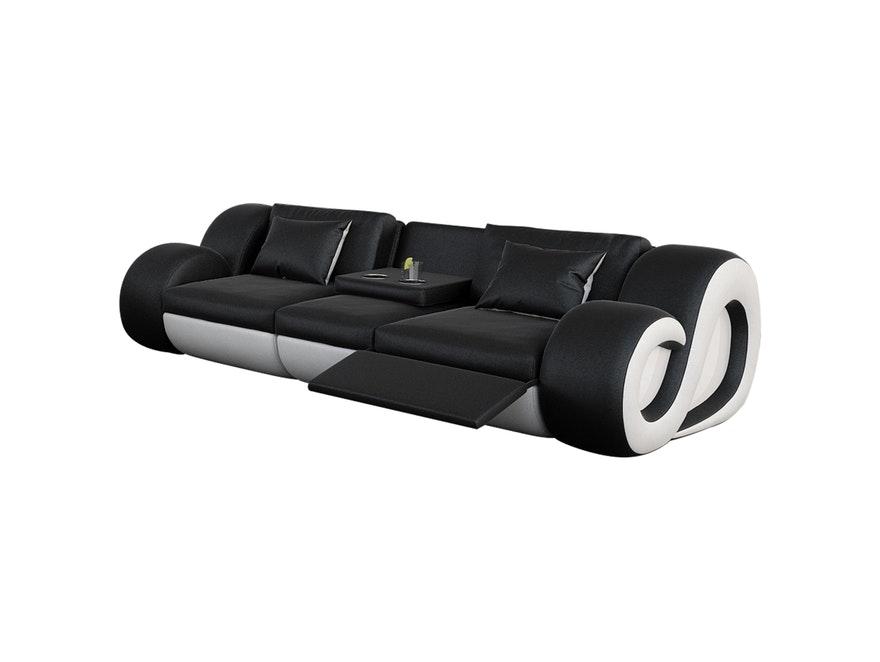 Innocent Sofa Schwarz/weiß 3 Sitzer Nesta Mit Funktion Und LED N 8017