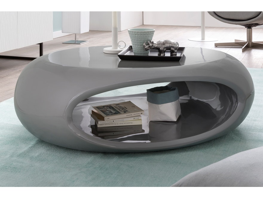 couchtisch grau hochglanz oval 100 cm mit ablage ufo. Black Bedroom Furniture Sets. Home Design Ideas