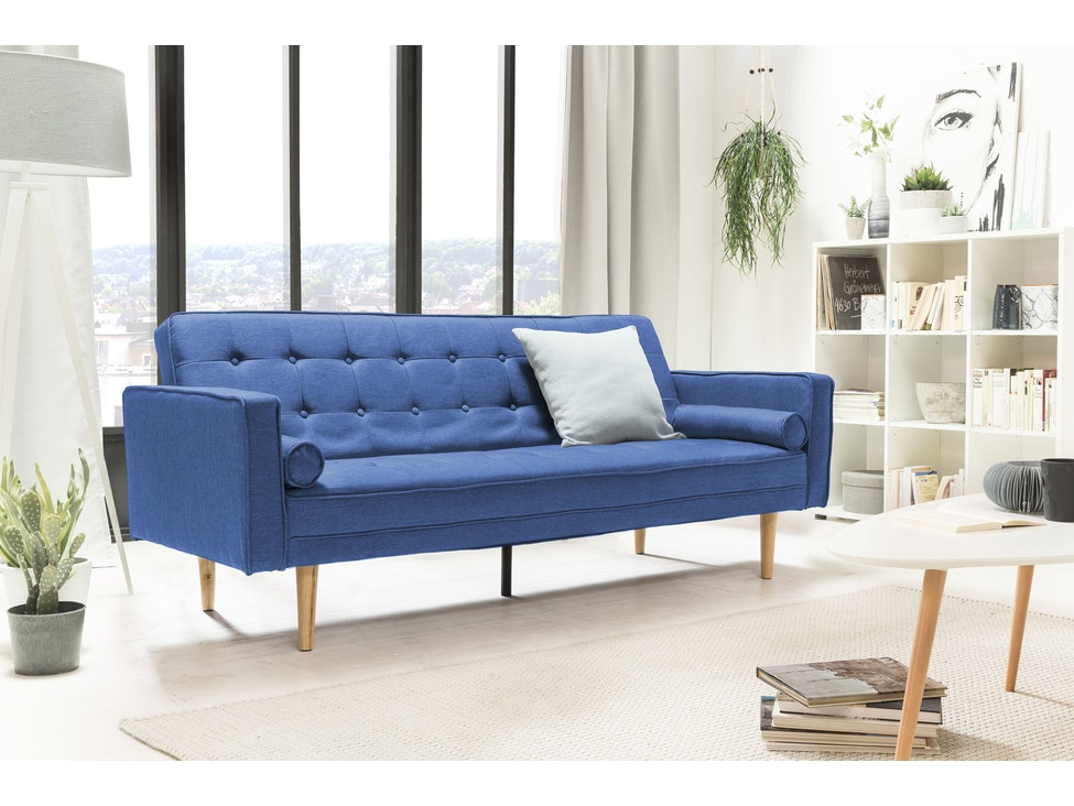 Schlafsofa Klappsofa 3-Sitzer Stoff Soho blau kaufen » SalesFever.de
