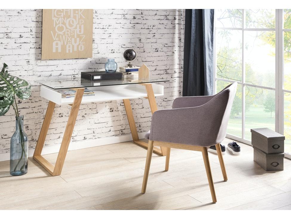 Schreibtisch modern Holz mit Glasplatte Venla » SalesFever ...