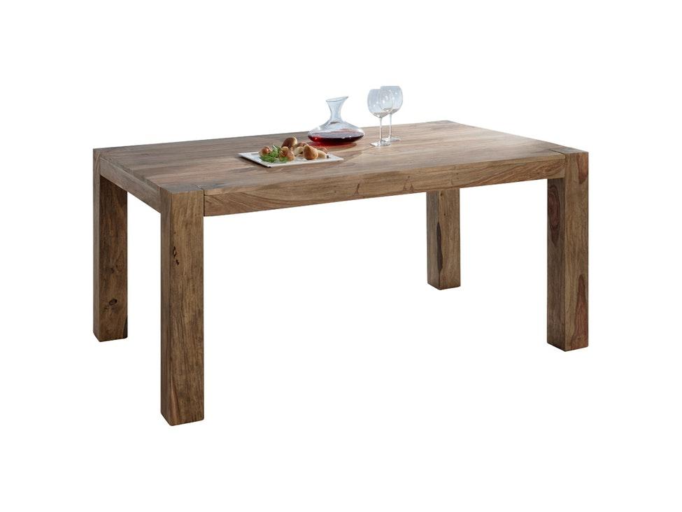 Schreibtischplatte massivholz  Esstisch aus Akazie antikfinish mit Baumkante Stahlgestell Schwarz ...
