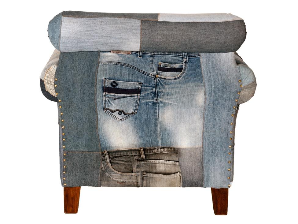 Sessel Indigo Patchwork Jeans Groß